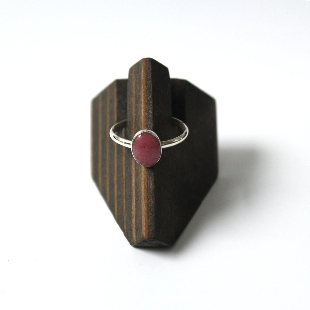 Peruvian Pink Opal Sterling Silver Ring - Size 8