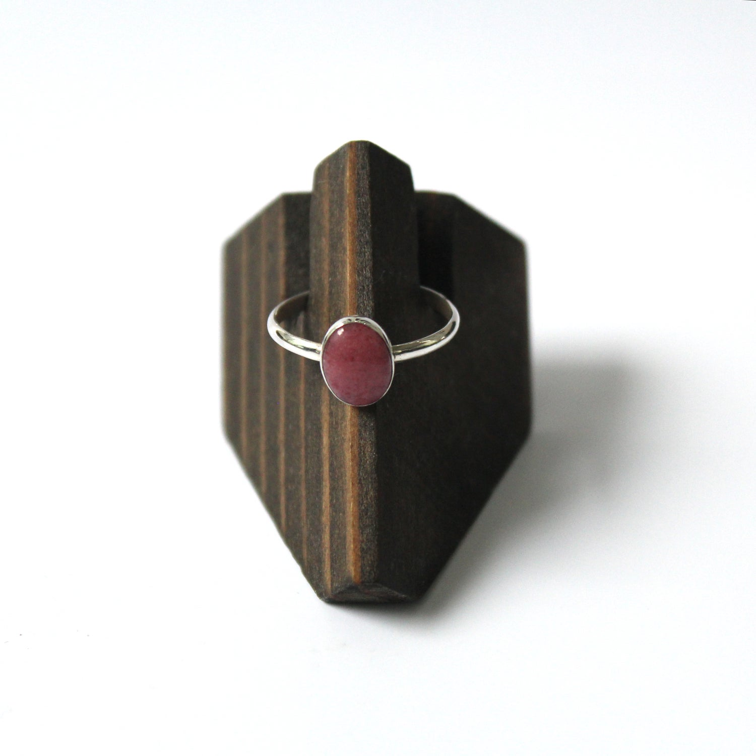 Image of Peruvian Pink Opal Sterling Silver Ring - Size 8