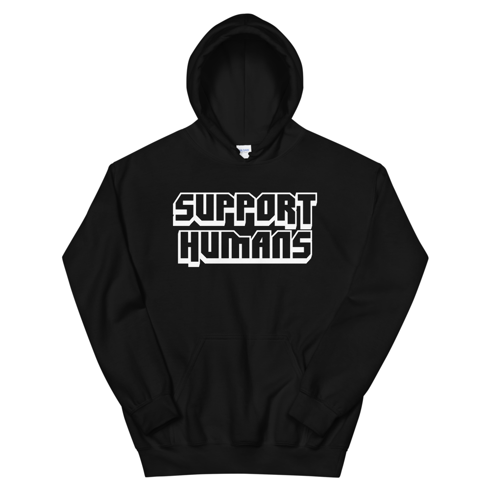 Image of SUPPORT HUMANS BLACK HOODIE