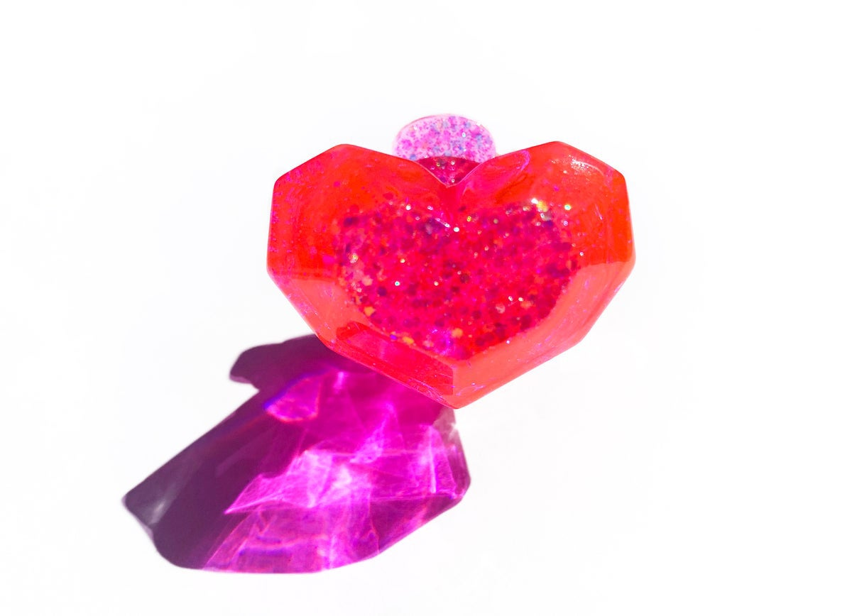 Image of Neon Pink Heart Pop Ring