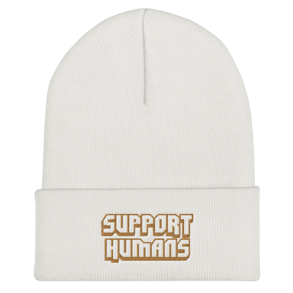 Image of WHITE SUPPORT HUMANS BEANIE
