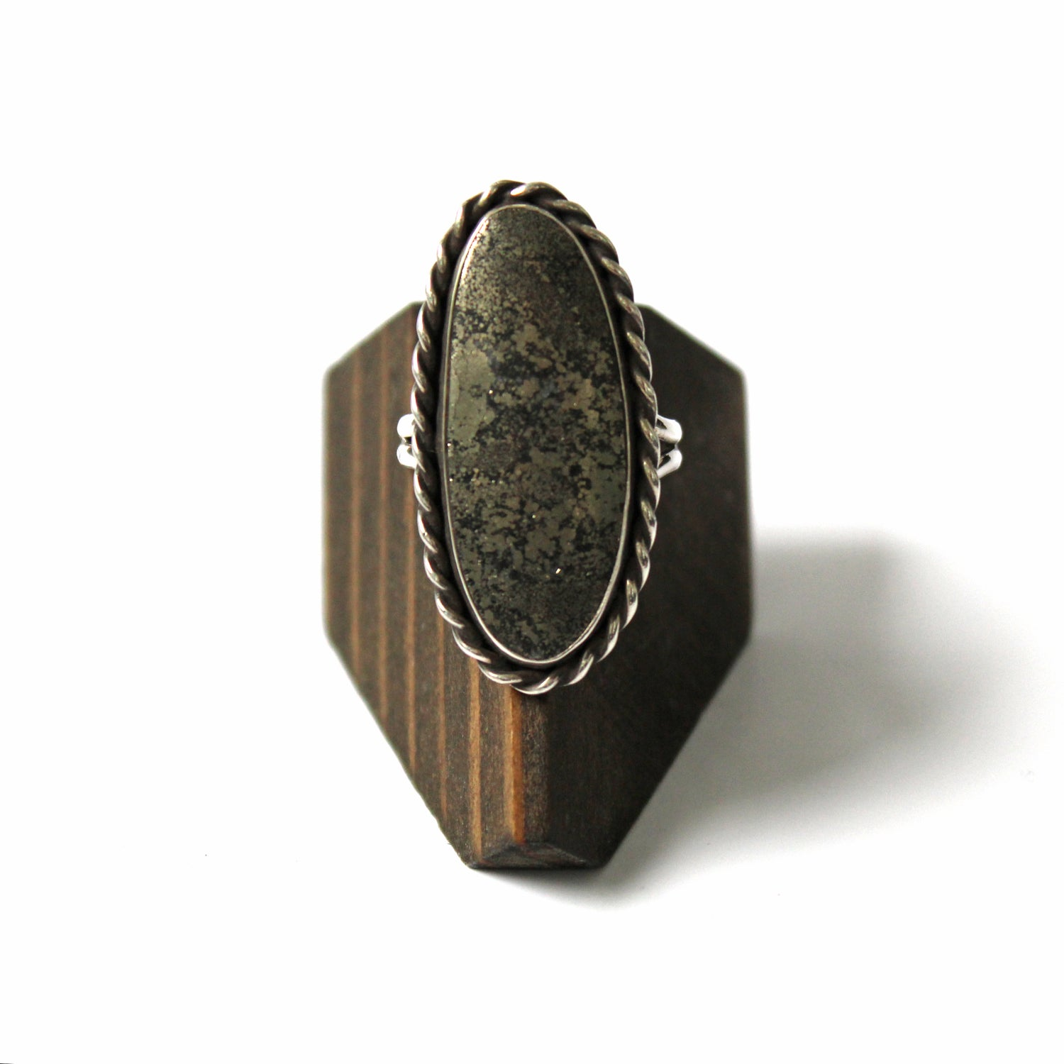 Image of Pyrite Sterling Silver Ring - Size 9.5