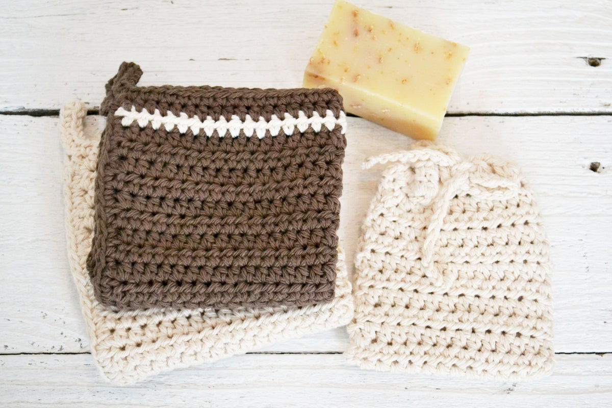 Image of Crochet Brown and Cream Organic Spa Set