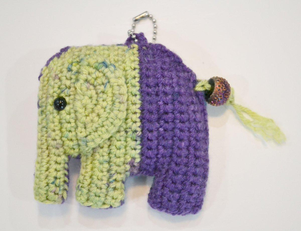 Image of Crochet Multi Color Elephant Keychain