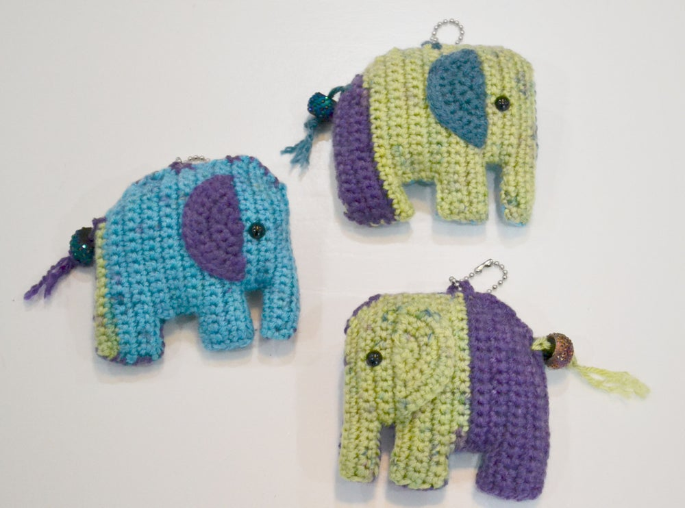 Image of Crochet Multi Color Elephant Keychain