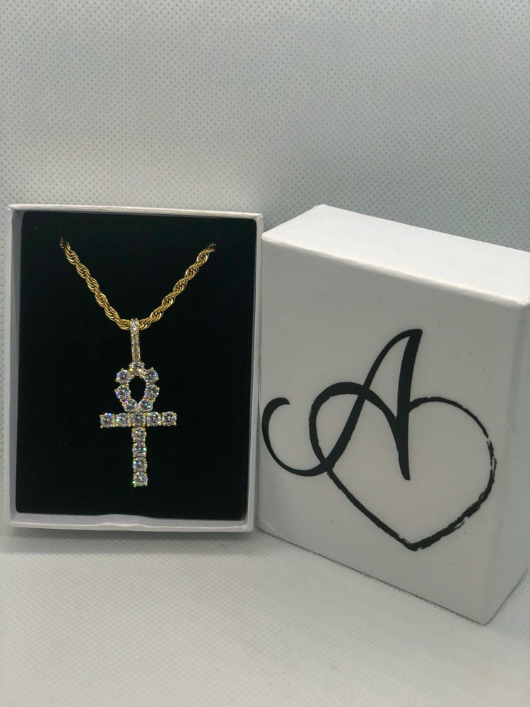 Image of Gold Diamond  Ankh Necklace