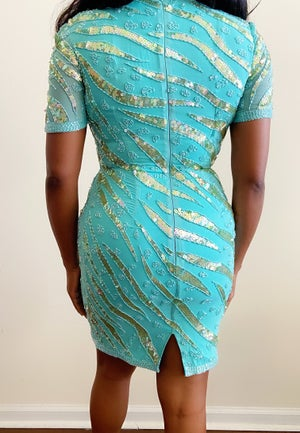 Image of Vintage Sequin & Beaded Bodycon Dress - Size 6