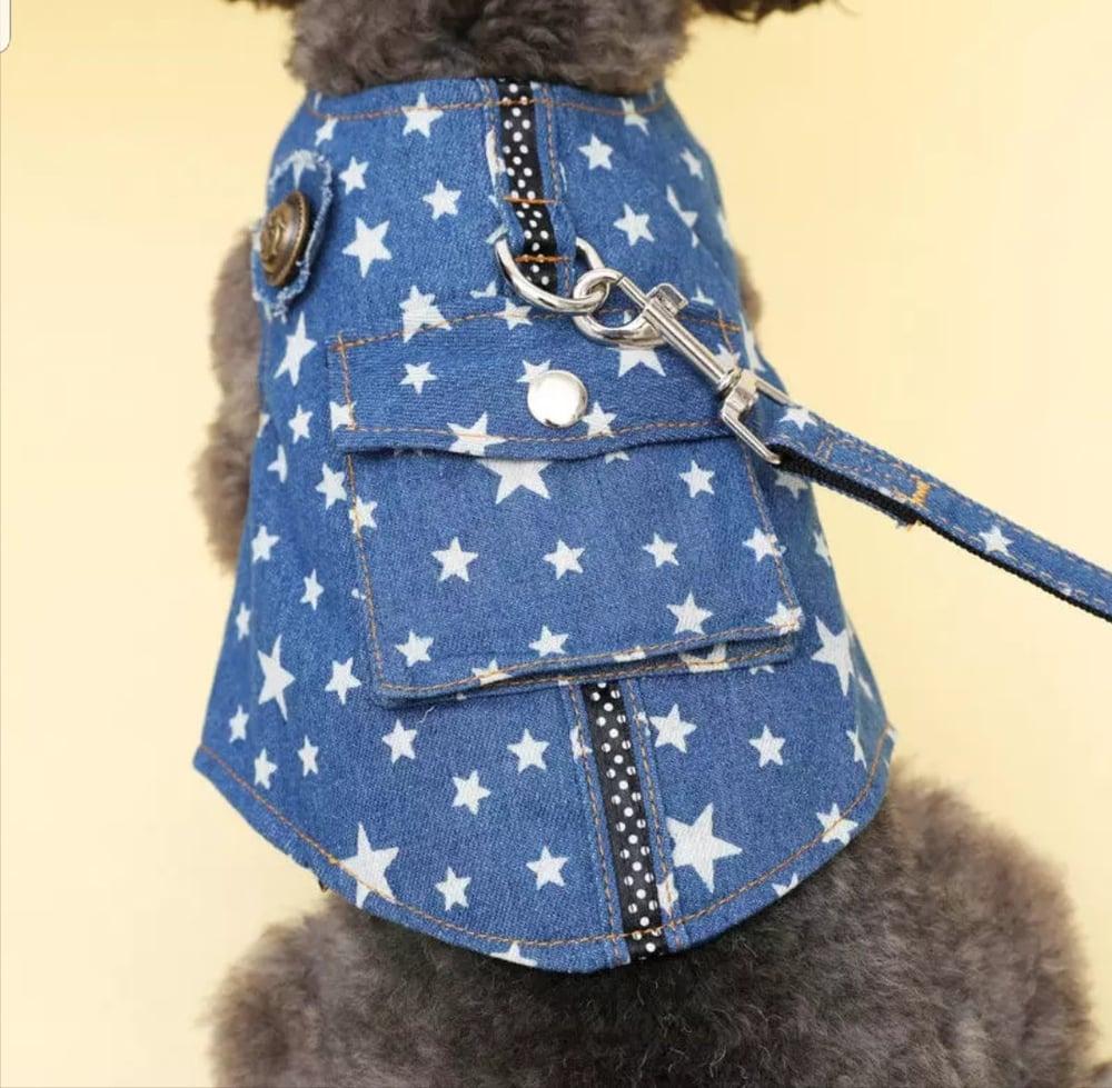 Image of Starred Denim Pet Harness