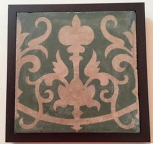 Image of Gold and emerald green Barcelona rescued cement tile frame