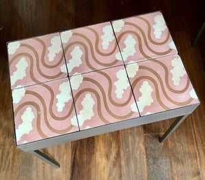 Image of Mireille in the clouds Barcelona hydraulic rescued tiles coffee table