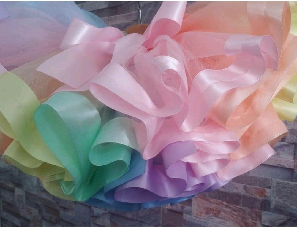 Image of Pastel Rainbow Ribbon Edge Tutu