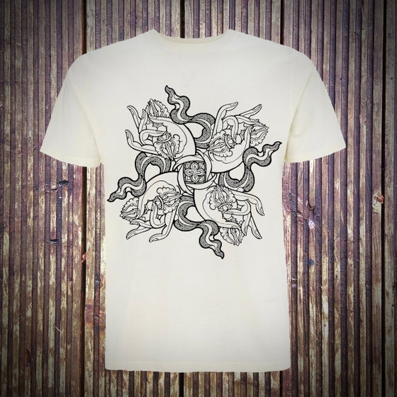 Image of '4 Dorje Hands'  short sleeve ecru