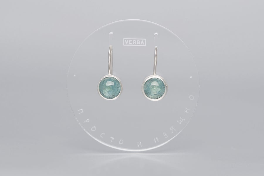 Image of silver earrings with aquamarines SIMPLEX MUNDITIS