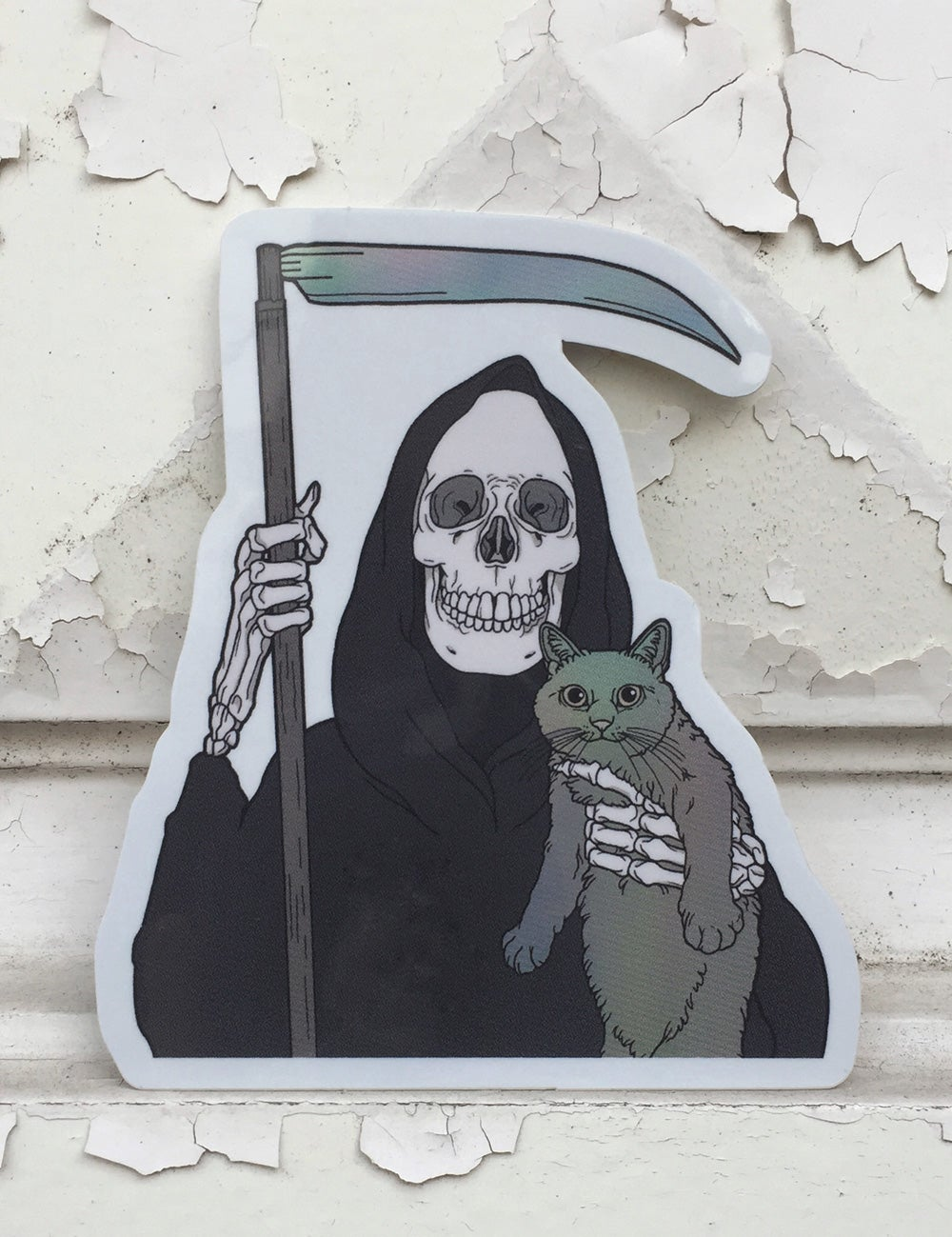 Image of Grim Reaper and Holographic Cat Friend