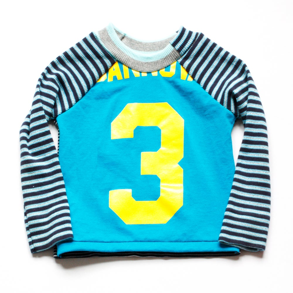 Image of teal yellow three 3T patchwork mix birthday 3 3rd third bday long-sleeved long sleeve tee top shirt