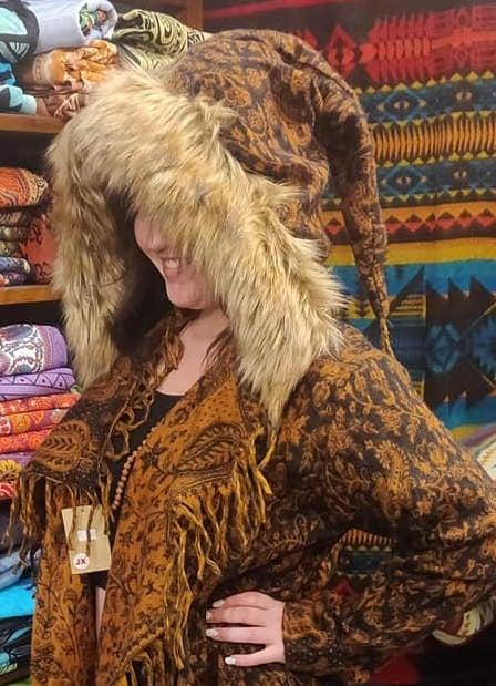 Image of Furry Fringe Coat Black & Orange
