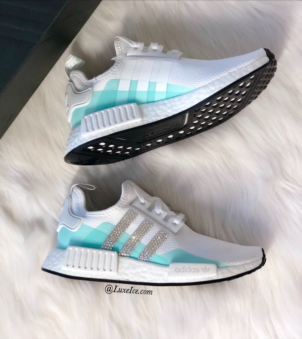 Image of Adidas NMD R1 Coud White/Clear Mint customized with Swarovski Crystals.