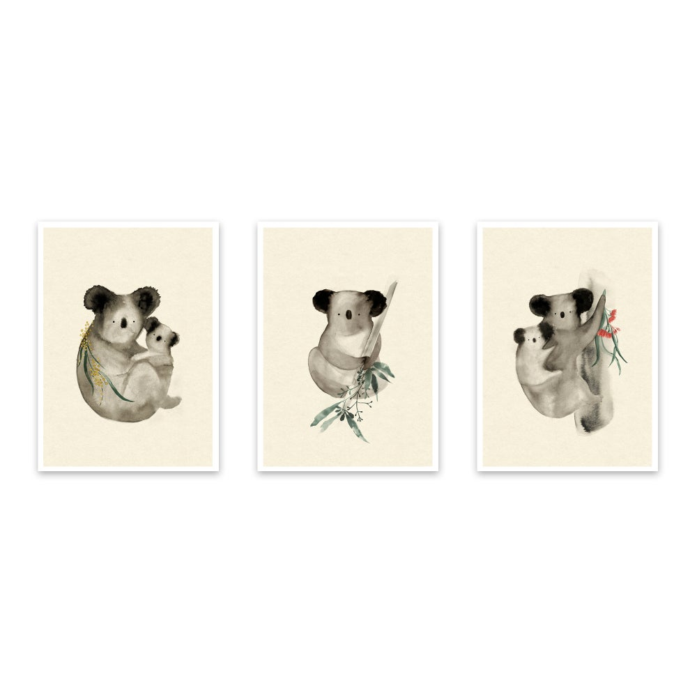Image of Set of 3 Koala prints