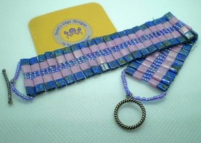 Pink and Purple Tila Bead Bracelet