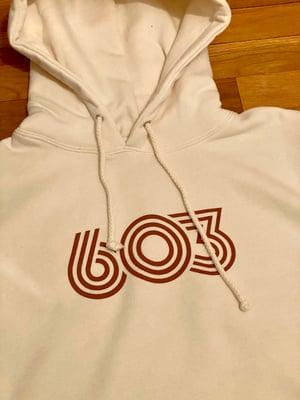Image of Bone w Burnt Orange Retro 603 hoodie
