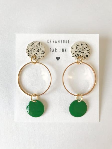 Image of Paire de boucles d'oreilles MELANGA splash noir et vert