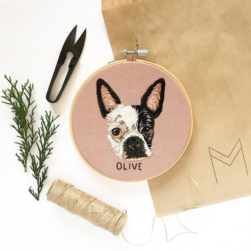 Image of Custom Pet Portrait - Head + Name, HOOP