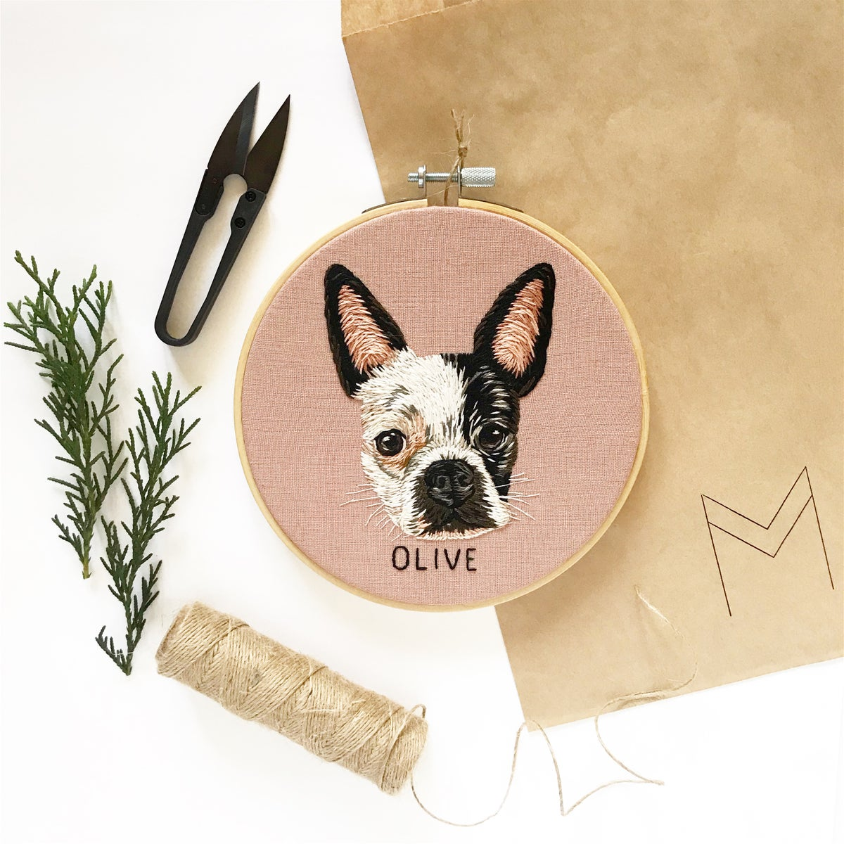 Custom Pet Portrait - Head + Name, HOOP