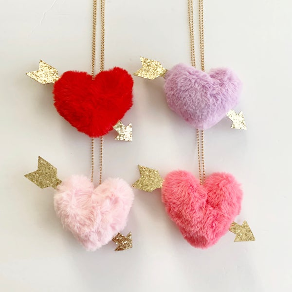 Image of Fuzzy Heart Necklace with Glitter Arrow