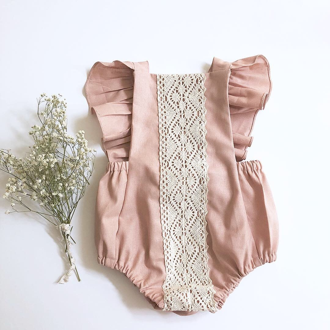 Image of Rose linen romper
