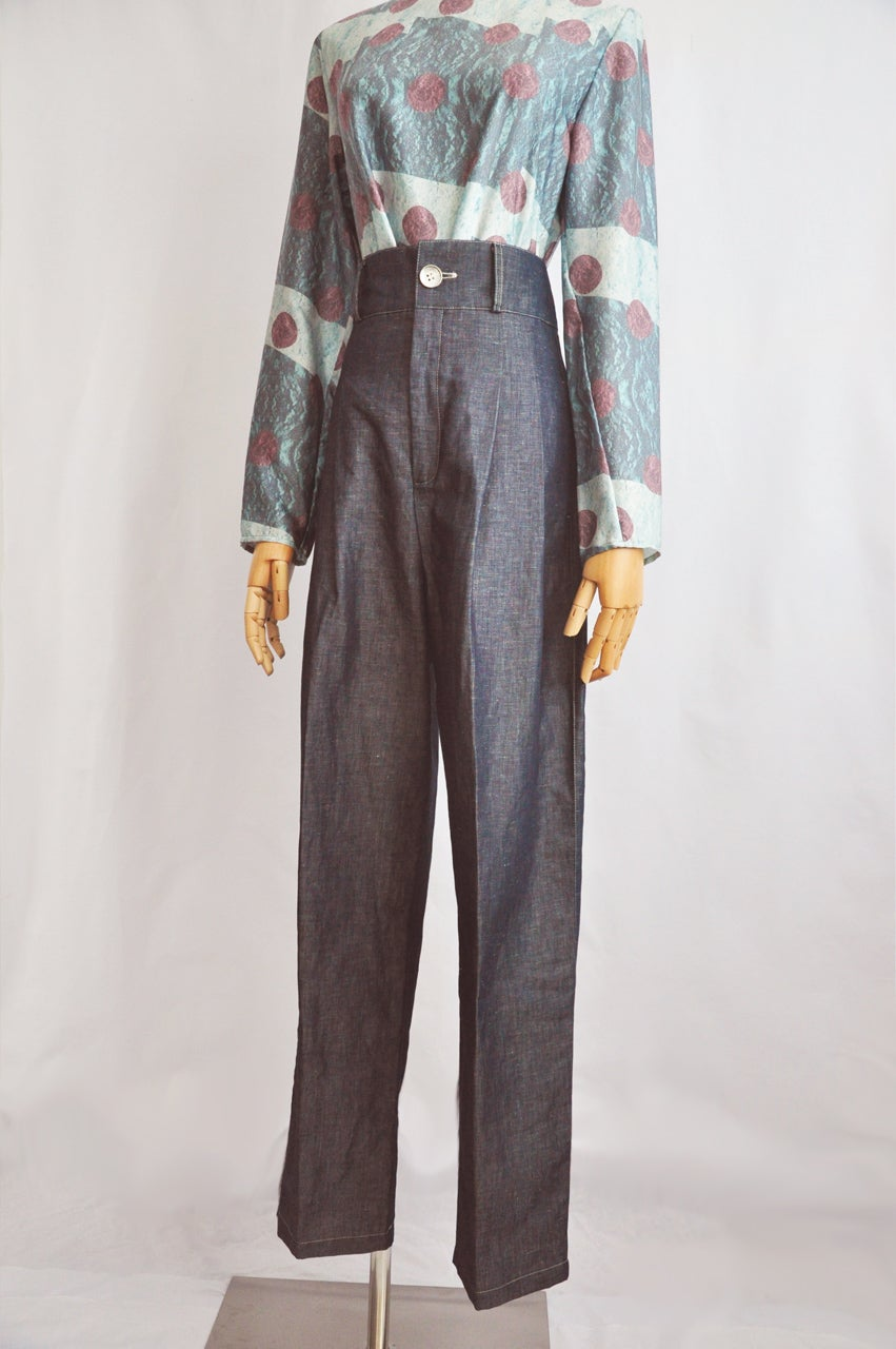 Image of DENIM EFFECT TROUSERS
