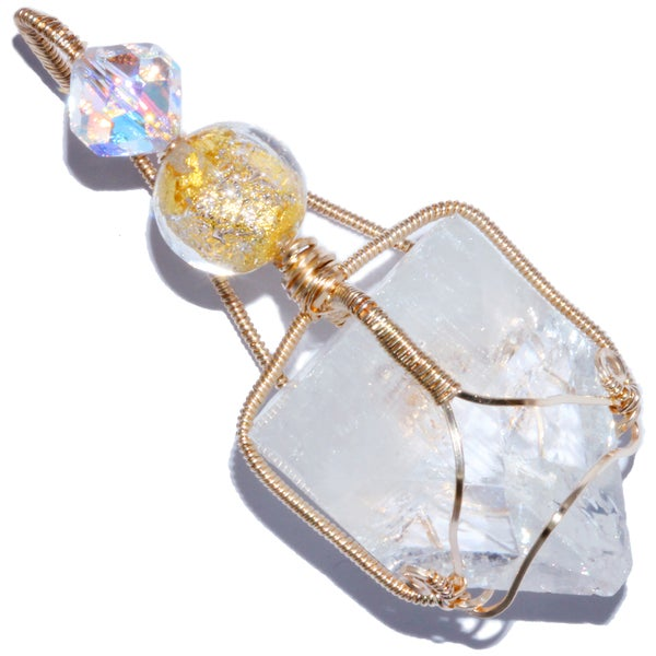 Image of Apophyllite Crystal Point 14K GF Pendant