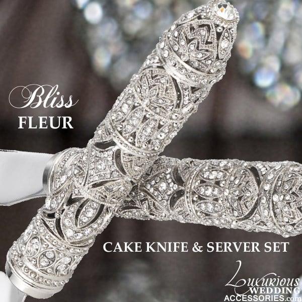 Image of Swarovski Crystal Cake Knife & Server Fleur