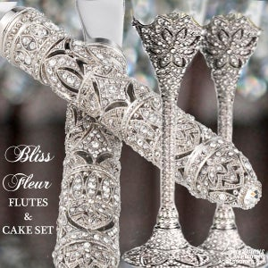 Image of Bliss Fleur Silver Champagne Flutes and Cake Cutting Set