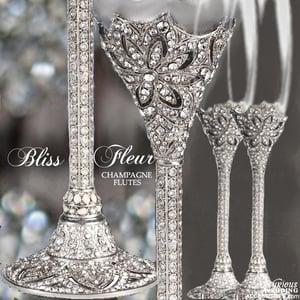 Image of Bliss Fleur Swarovski Crystal Champagne Flutes