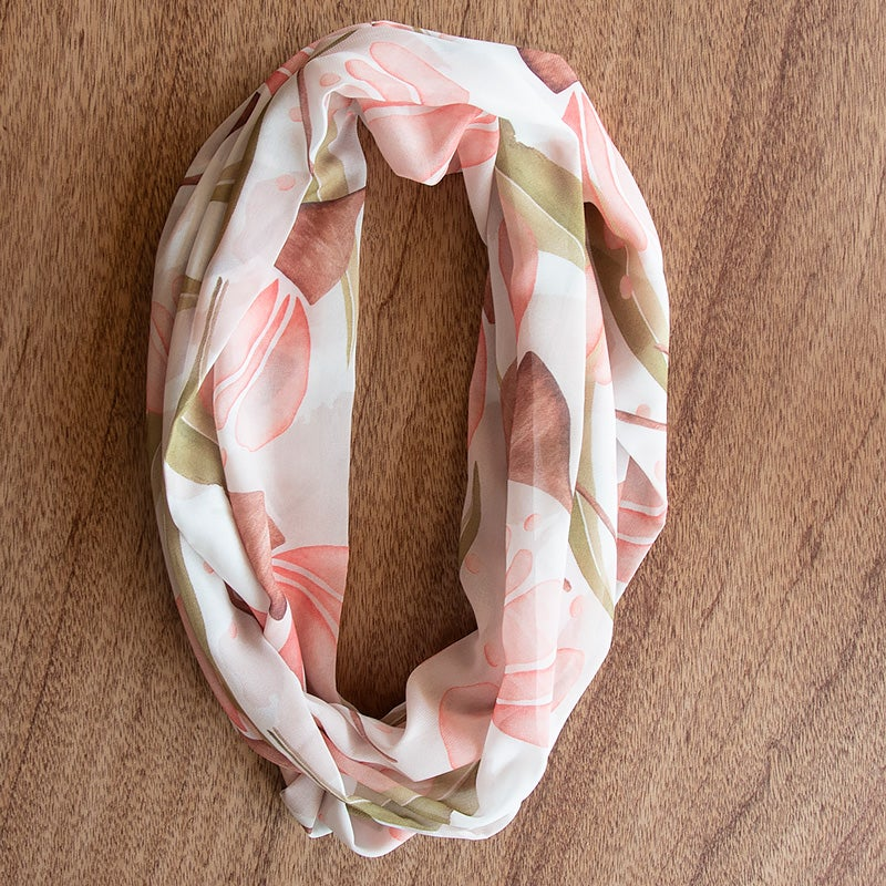 Image of Australian Made Infinity Scarf - Pink Gum Blossom