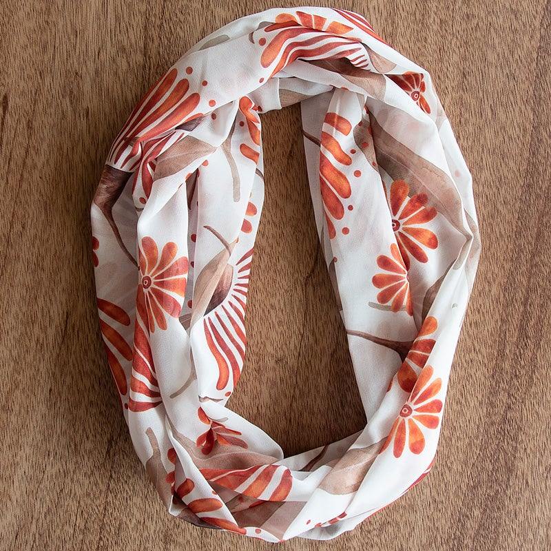 Image of Australian Made Infinity Scarf - Rustic Gum Blossom