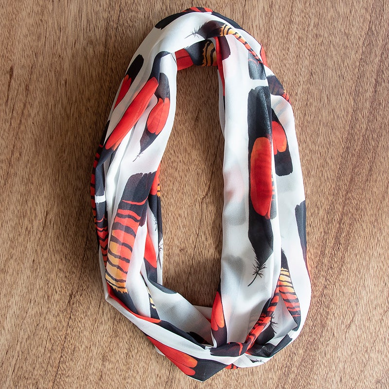 Image of Australian Made Infinity Scarf - Glossy Black Feathers