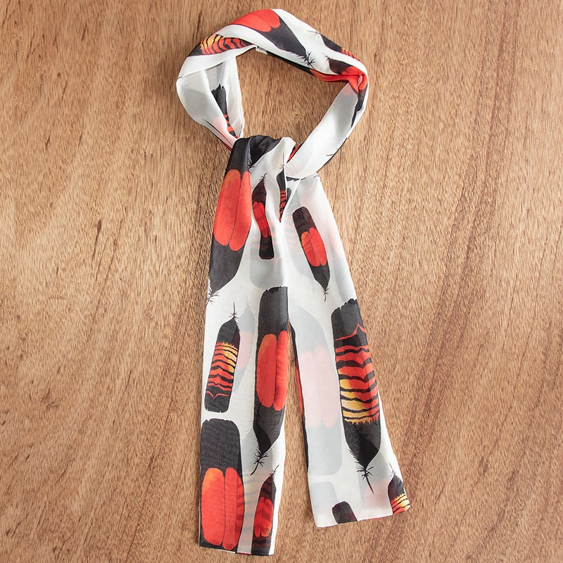 Image of Australian Made Tie Scarf - Glossy Black Feathers