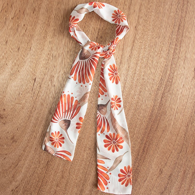 Image of Australian Made Tie Scarf - Rustic Gum Blossom