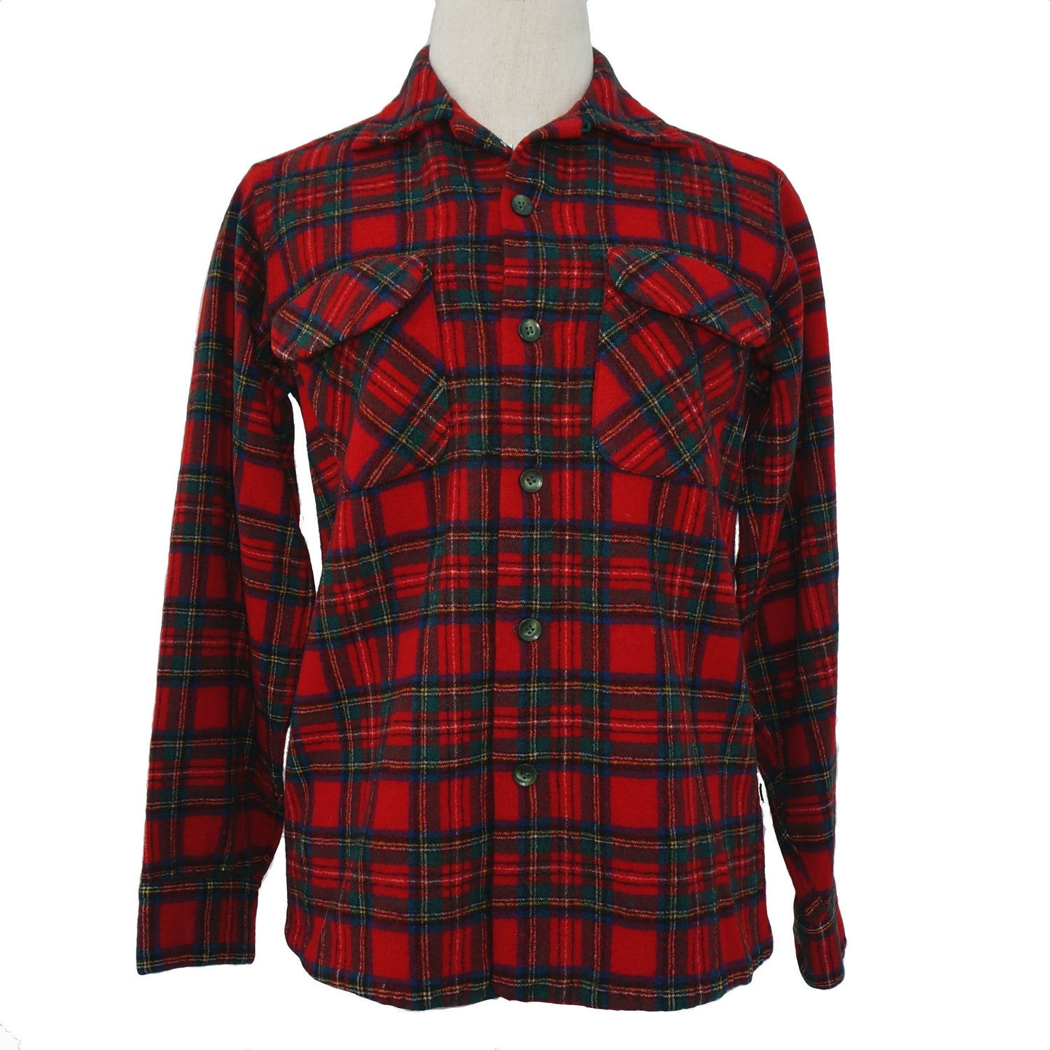 """Image of Pendleton 1950s Red Wool Plaid Shirt, """"Made in Portland"""" Label"""