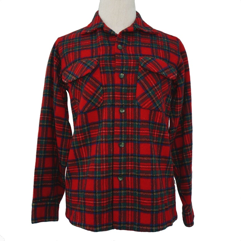 "Image of Pendleton 1950s Red Wool Plaid Shirt, ""Made in Portland"" Label"