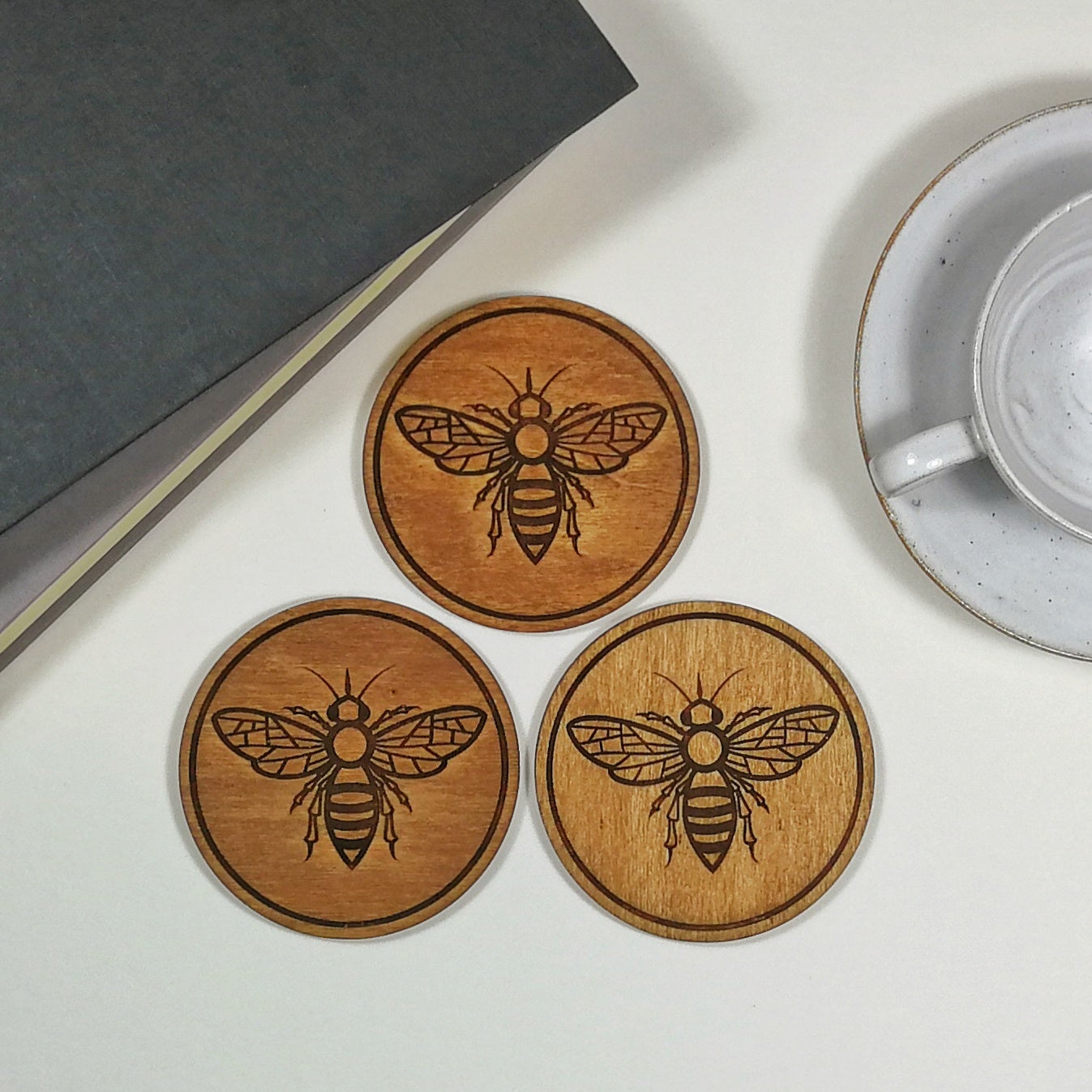 Image of Engraved Bee Wooden Drinks Coasters - set of 4.