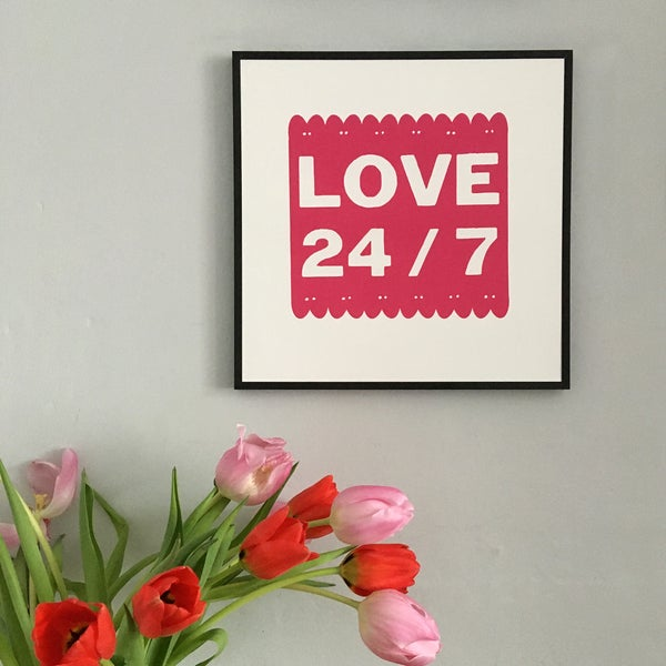 Image of LOVE 24/7 screenprint on paper