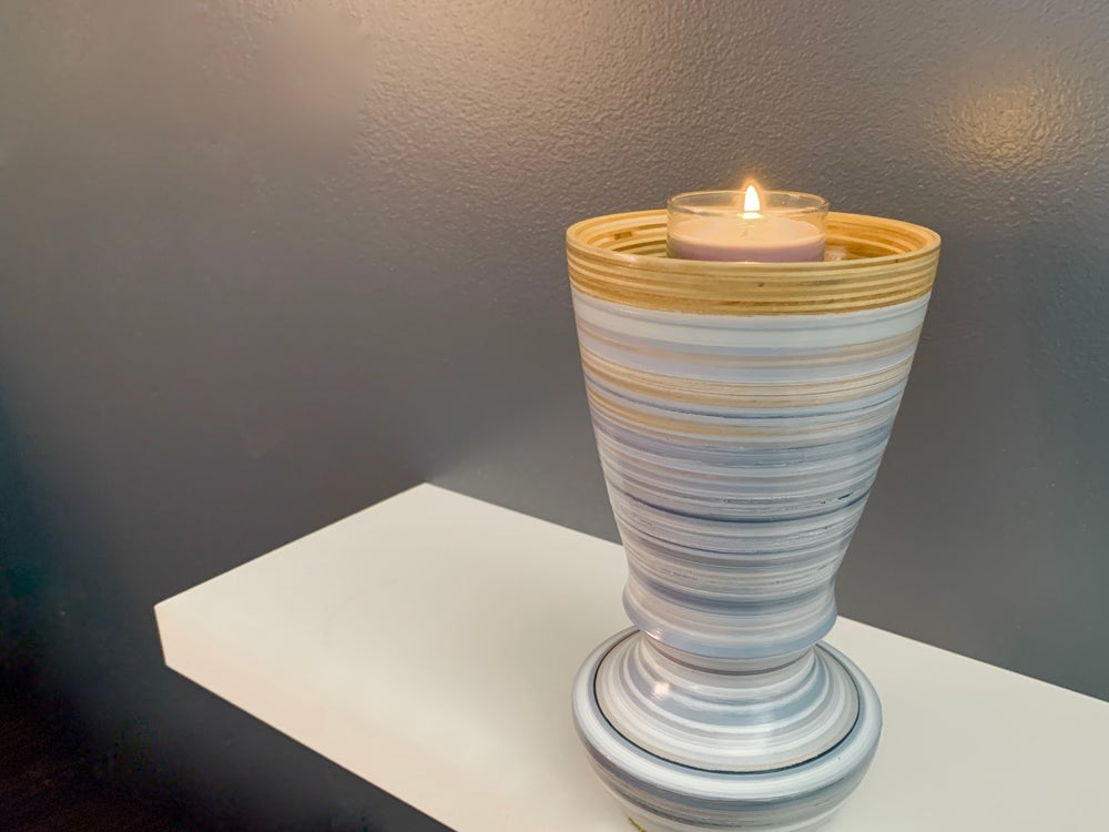 Image of Hand Turned Hand Painted Vase And Votive Holder