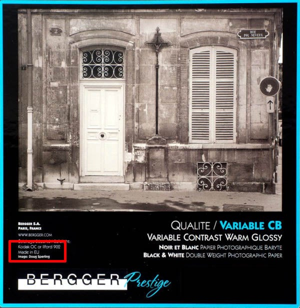 Image of Bergger Prestige Variable CB Warmtone Baryta Paper (Glossy double weight FB)