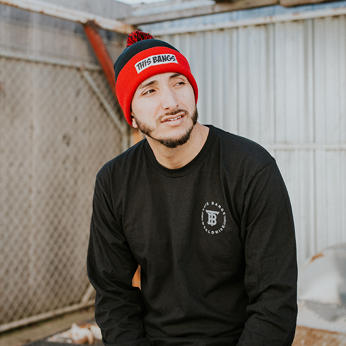 Image of This Bangs Black and Red Beanie