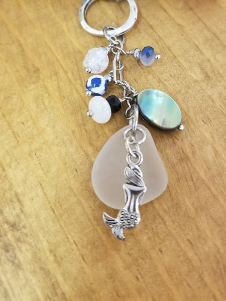 Image of Sea Glass- Abalone- Agate- Mermaid- Necklace- #292