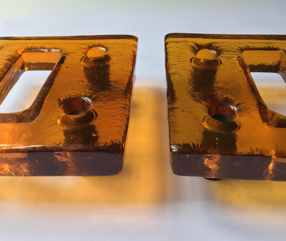Image of Pair of Large Amber Art Glass Door Handles, Mid-20th Century