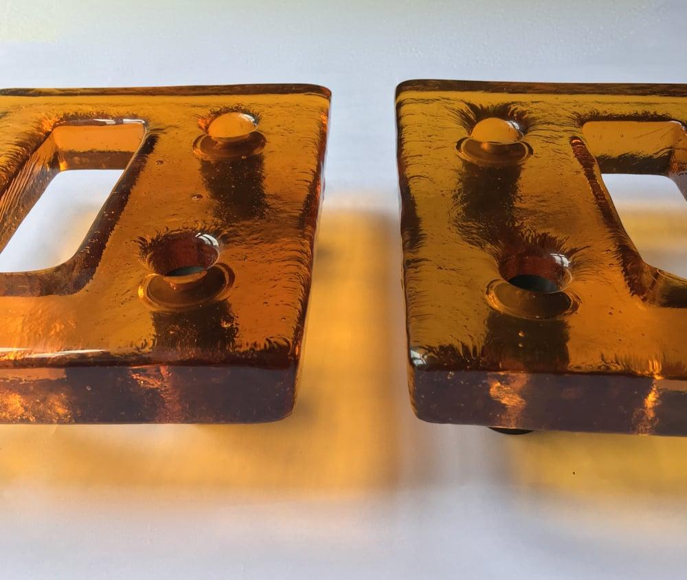 Image of Pair of Vintage Art Glass Door Handles
