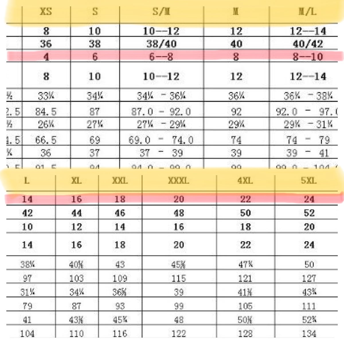 Image of SIZING CHART